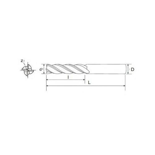 Frez walcowo-czołowy fi 1,5 długi Z-4  - Pafana